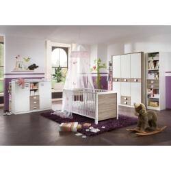 Chambre bébé contemporaine coloris blanc/chêne Pirouette II