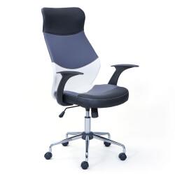 Chaise de bureau design en PU noir/gris/blanc Sabina