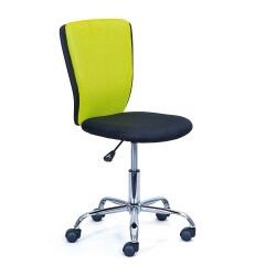 Chaise de bureau enfant design en tissu noir et vert Theodore