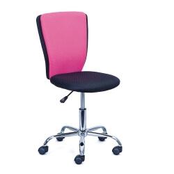 Chaise de bureau enfant design en tissu noir et rose Theodore