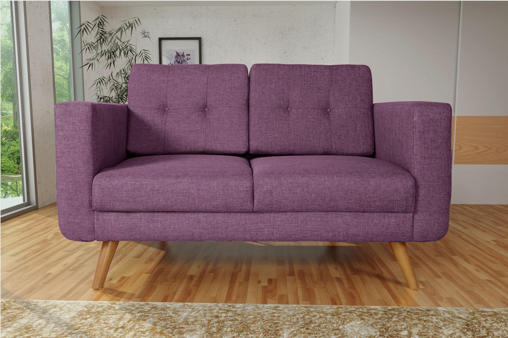 Canapé fixe 2 places contemporain en tissu prune Tebessa