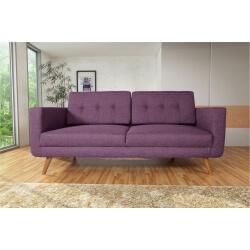 Canapé fixe 3 places contemporain en tissu prune Tebessa
