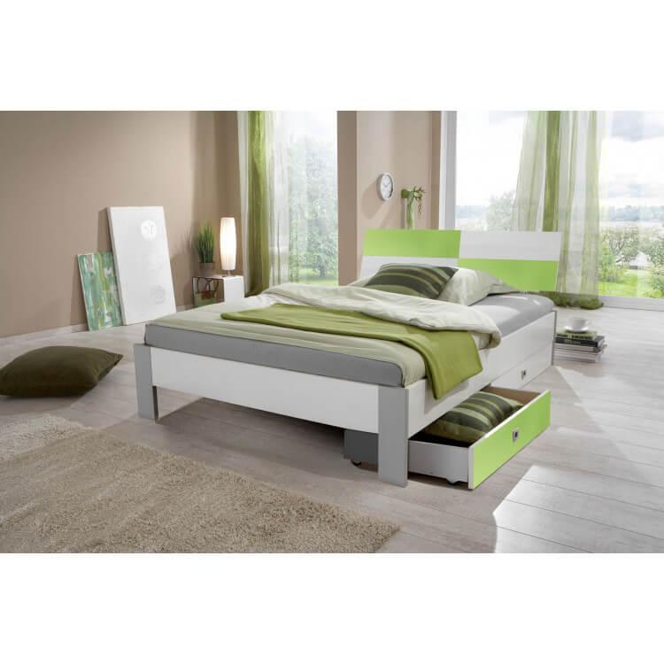 Lit enfant contemporain avec tiroir-lit blanc/vert pomme Sunday