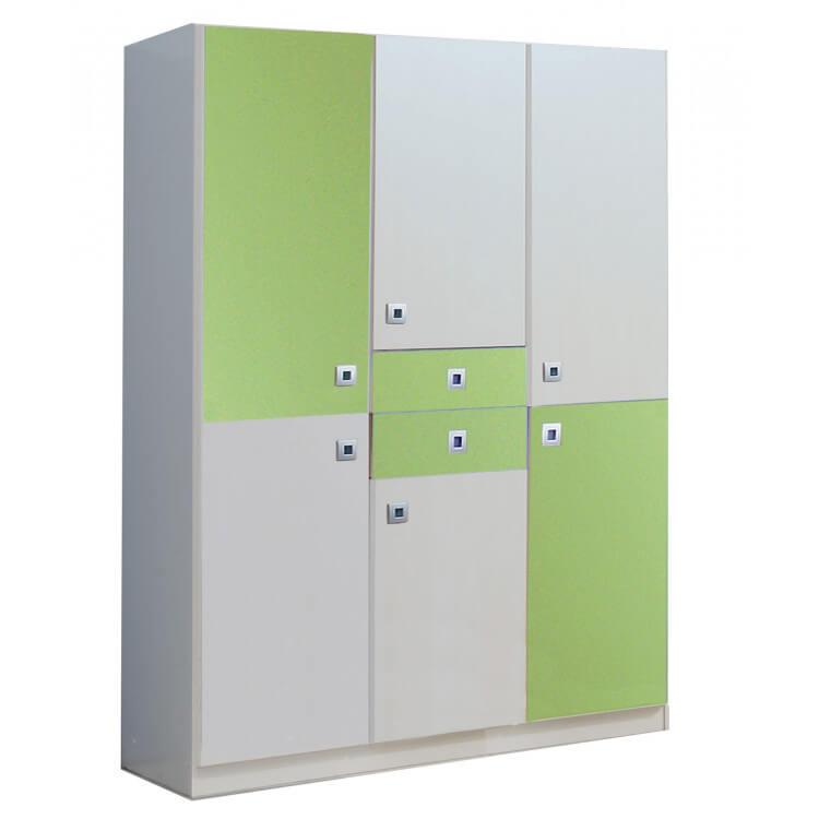 Armoire enfant contemporaine 4 portes/2 tiroirs blanche/vert pomme Sunday