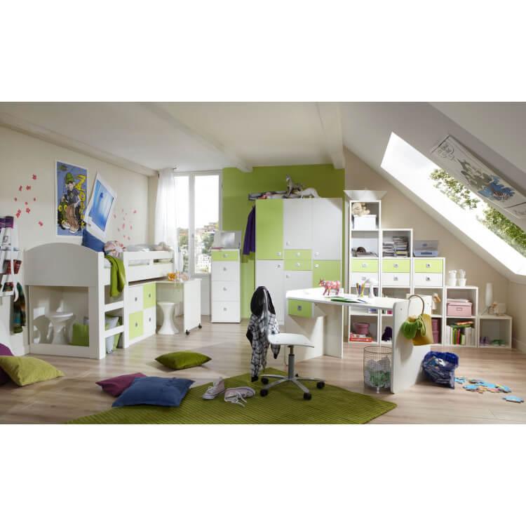 Chambre enfant contemporaine blanche/vert pomme Sunday