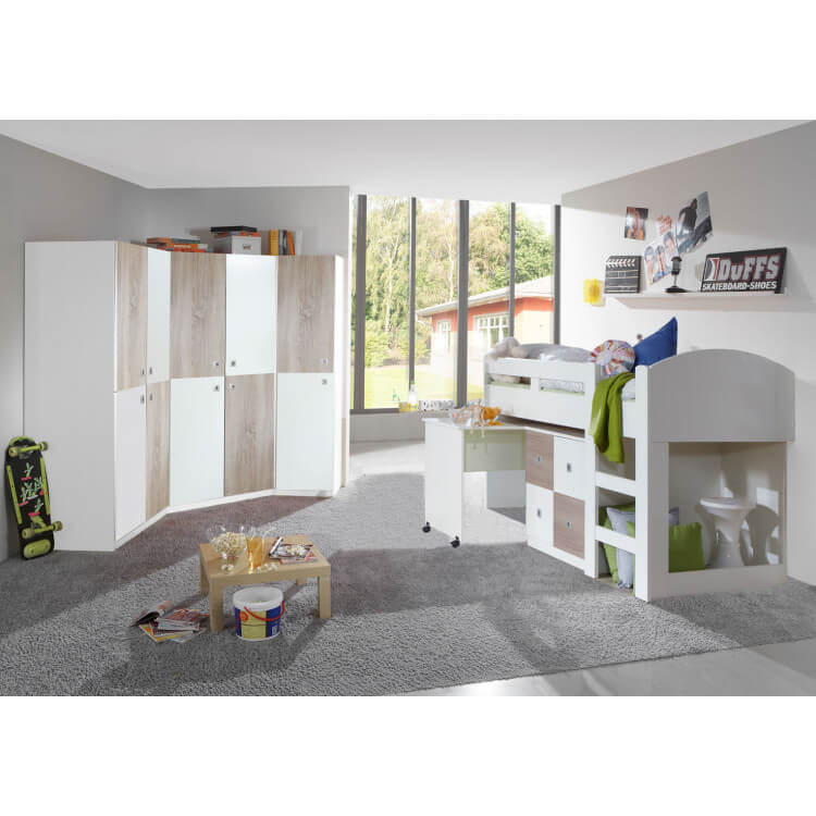 armoire d 39 angle enfant contemporaine blanche ch ne ingrid matelpro. Black Bedroom Furniture Sets. Home Design Ideas