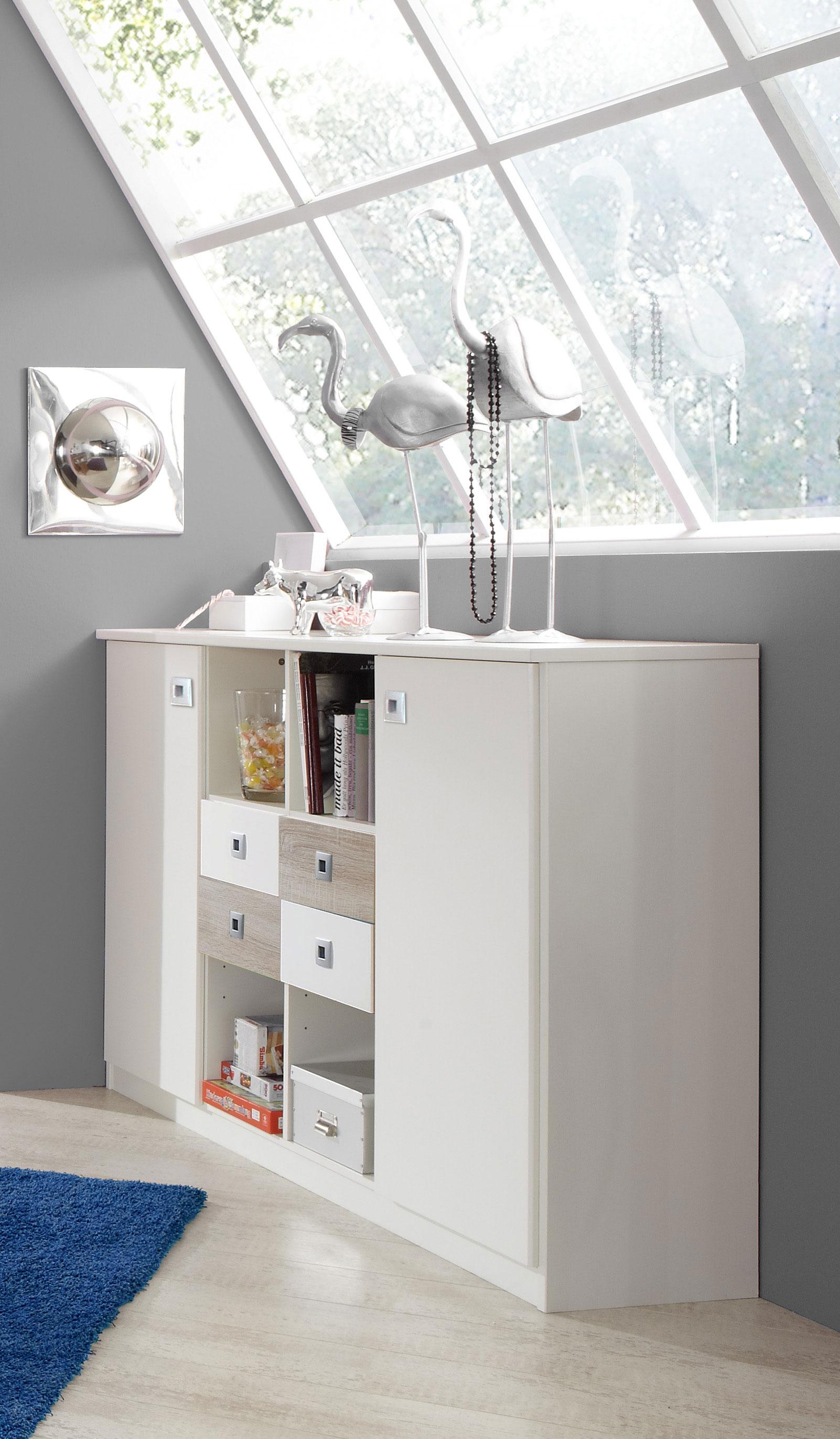 Meuble de rangement contemporain blanc/chêne Ingrid