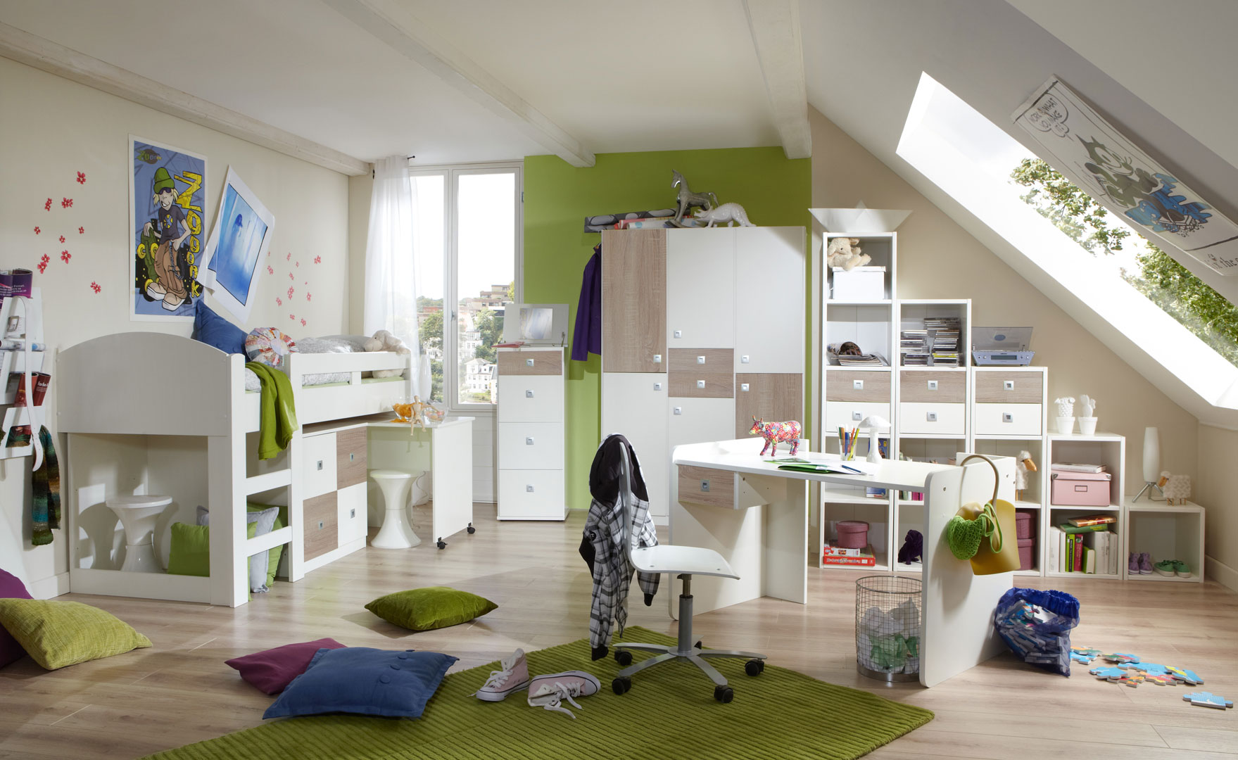 Chambre enfant contemporaine blanche/chêne Ingrid