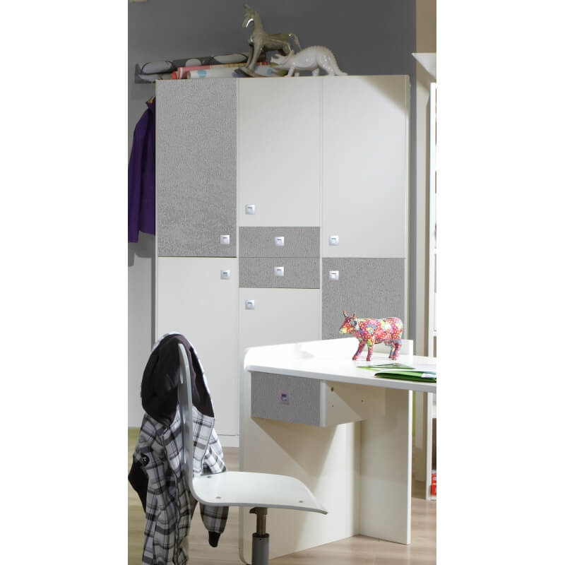 armoire enfant contemporaine 4 portes blanche b ton. Black Bedroom Furniture Sets. Home Design Ideas
