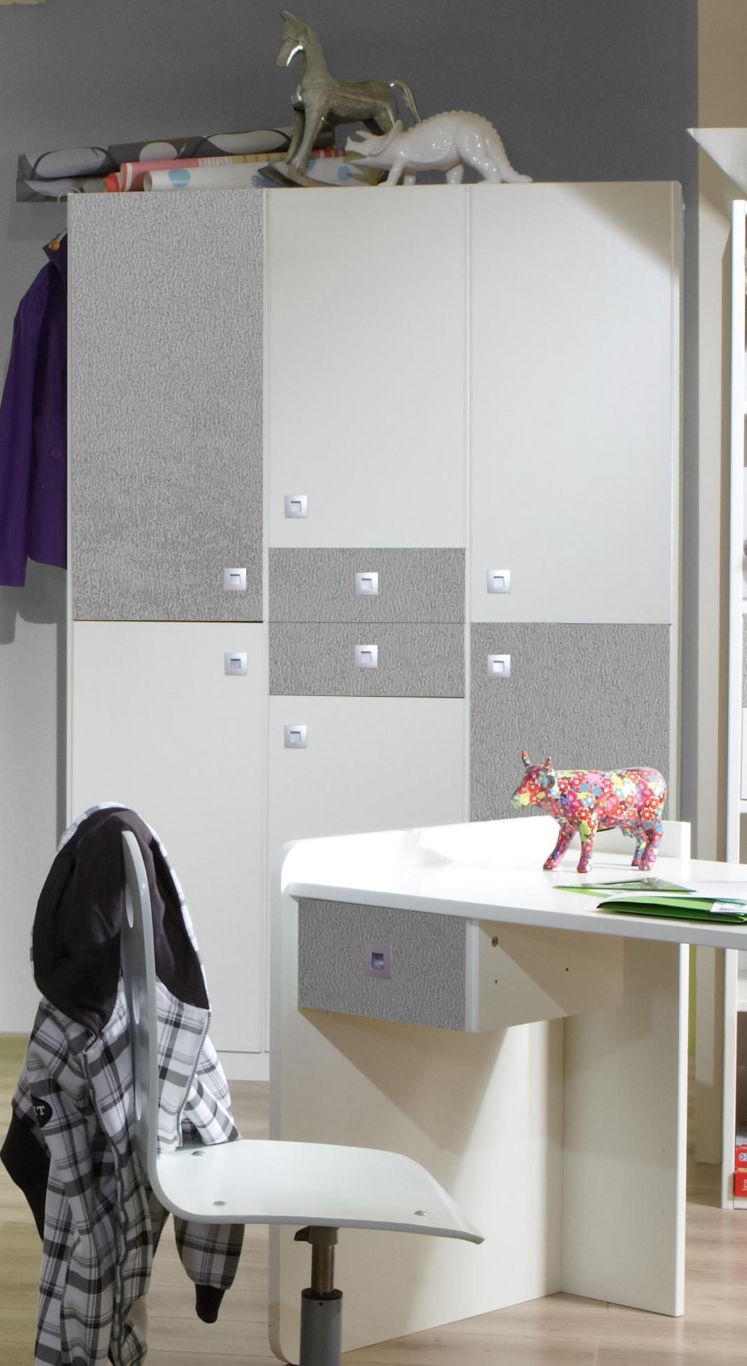 Armoire enfant contemporaine 4 portes blanche/béton Constance
