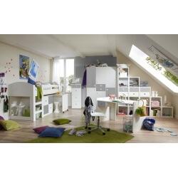 Chambre enfant contemporaine blanche/béton Constance