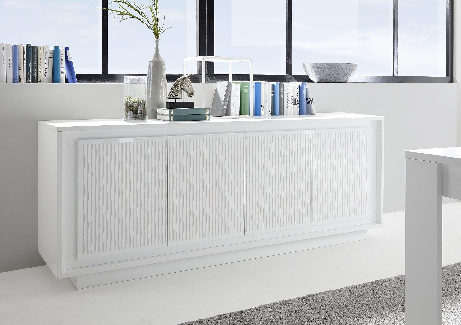 Buffet/bahut design laqué blanc mat/sérigraphies rayures Etienne