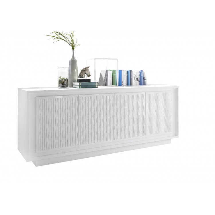 buffet bahut design laqu blanc mat s rigraphies rayures etienne matelpro. Black Bedroom Furniture Sets. Home Design Ideas
