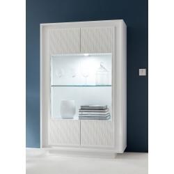 Vaisselier/argentier design laqué blanc mat/sérigraphies rayures Etienne