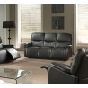 Canapé cuir 3 places 2 relax semi-automatique avec repose-pieds intégré TOSCANE