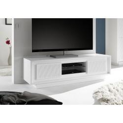 Meuble TV design laqué blanc mat/sérigraphies rayures Etienne