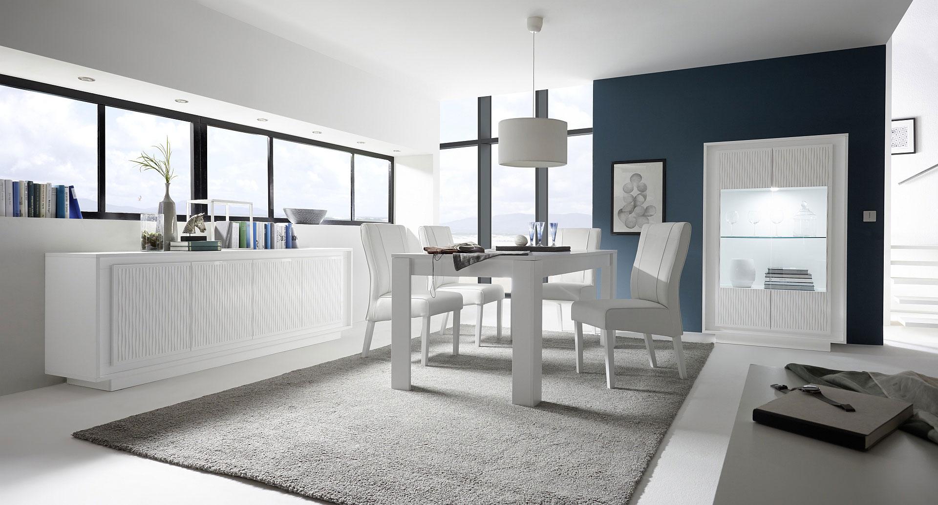 Salle à manger design laquée blanche mat/sérigraphies rayures Etienne