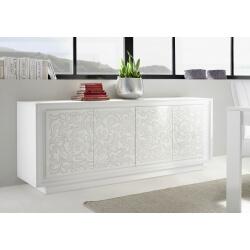 Buffet/bahut design laqué blanc mat/sérigraphies fleurs Monica