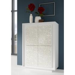 Bar design laqué blanc mat/sérigraphies fleurs Monica