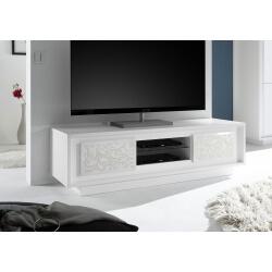 Meuble TV design laqué blanc mat/sérigraphies fleurs Monica