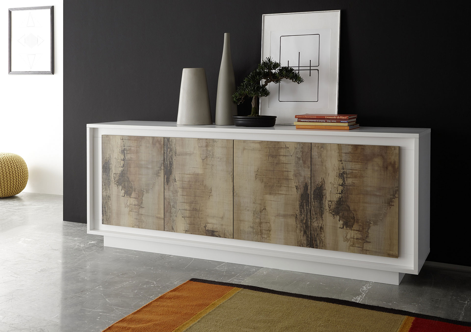 Buffet/bahut design laqué blanc mat/chêne Clotilde