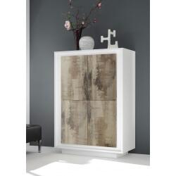 Bar design laqué blanc mat/chêne Clotilde