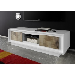 Meuble TV design laqué blanc mat/chêne Clotilde