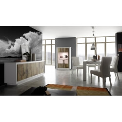 Salle à manger design laquée blanche mat/chêne Clotilde
