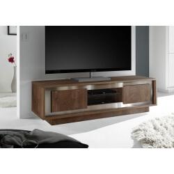 Meuble TV design coloris cognac/décor métal satiné Alizee