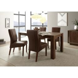 Table de salle à manger design extensible coloris cognac Alizee