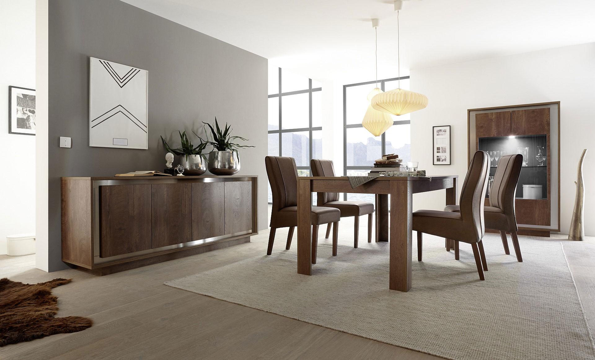 Salle à manger design coloris cognac/décor métal satiné Alizee