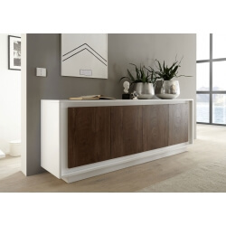Buffet/bahut design blanc laqué mat/noyer Diane