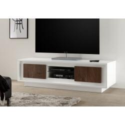 Meuble TV design blanc laqué mat/noyer Diane