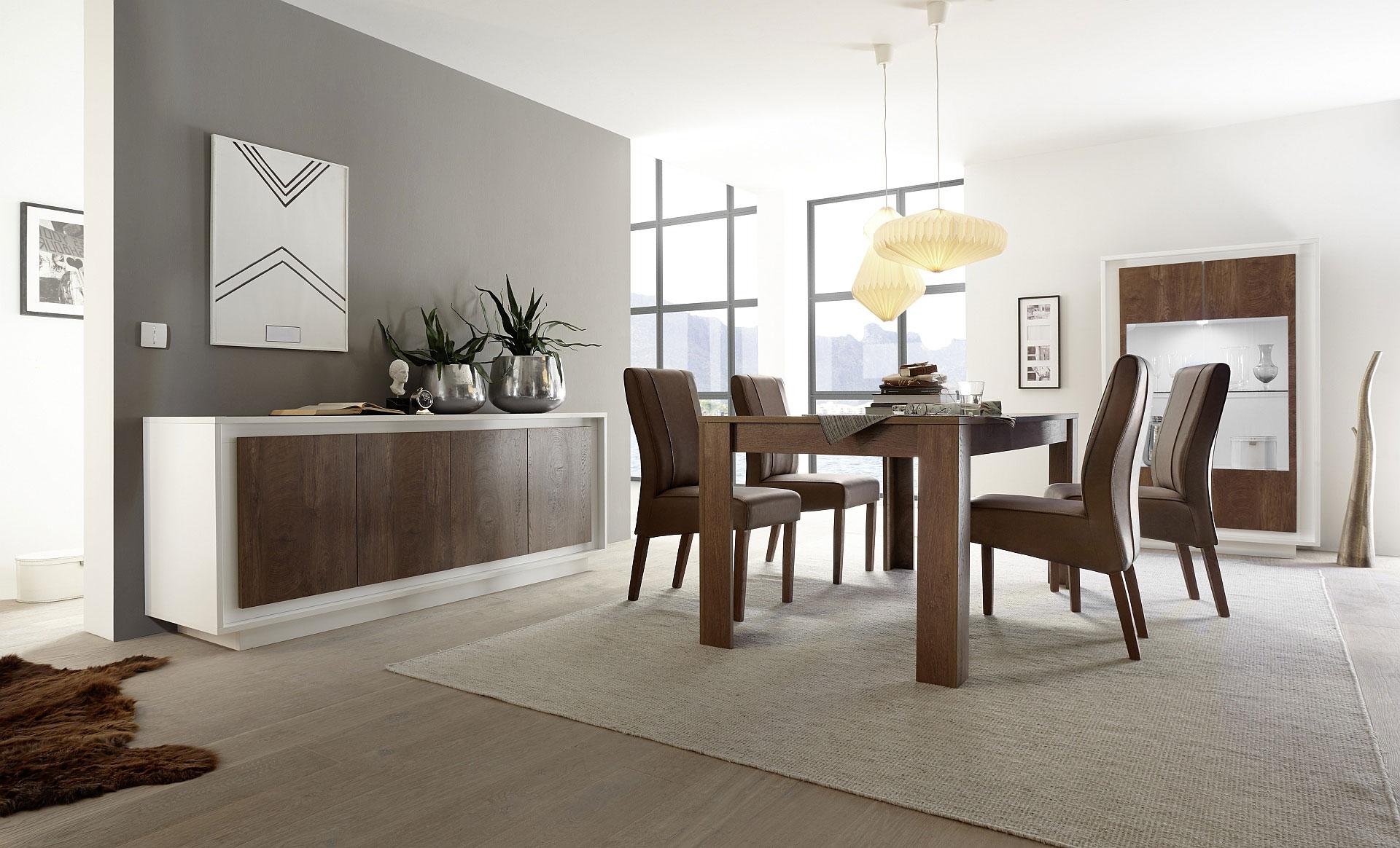 Salle à manger design blanche laquée mat/noyer Diane | Matelpro