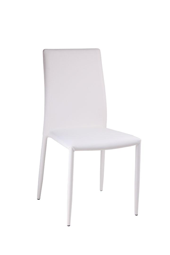 Chaise de salle à manger design en PU blanc (lot de 6) Laurence