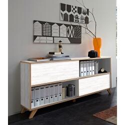 Armoire de bureau design coloris blanc repro/chêne Marco II