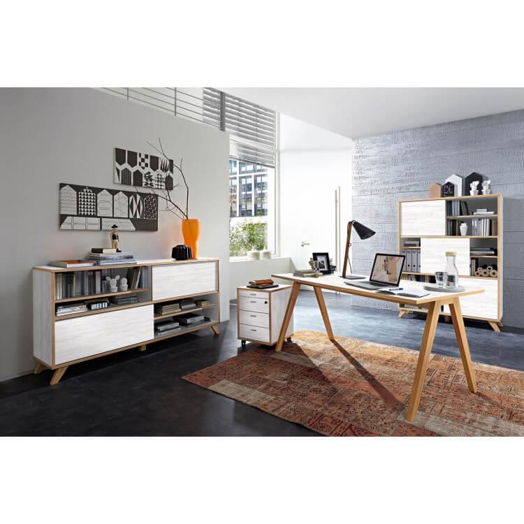 Ensemble de bureau contemporain coloris blanc repro/chêne Marco