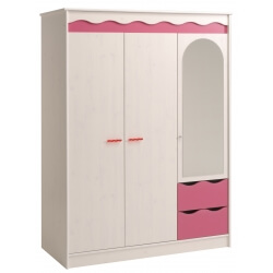 Armoire enfant contemporaine 3 portes pin memphis/framboise Lola