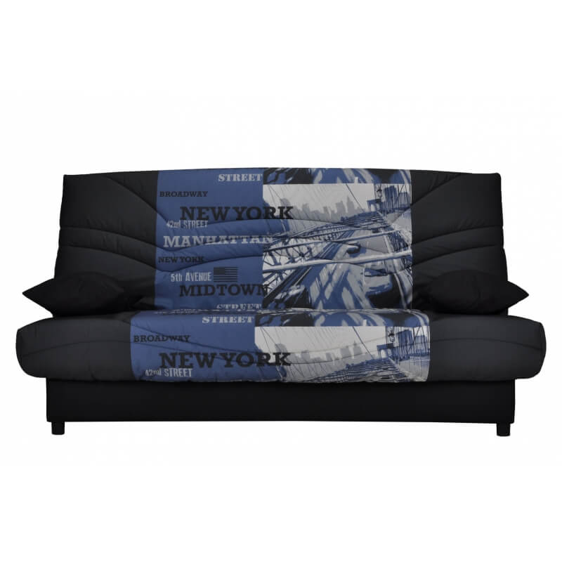housse clic clac coloris noir et bleu imprim franklin matelpro. Black Bedroom Furniture Sets. Home Design Ideas