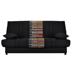 Canapé clic-clac contemporain coloris noir/imprimé Davone