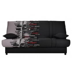 Canapé clic-clac contemporain coloris noir/imprimé Street