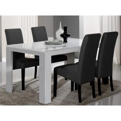 Table de salle à manger design laquée blanche Alba