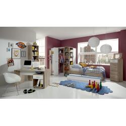 Chambre enfant contemporaine coloris chêne/blanc Johane