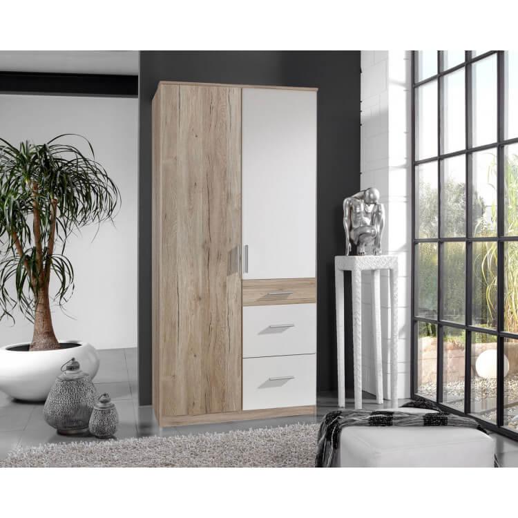 Armoire contemporaine 2 portes/3 tiroirs coloris chêne/blanc Johane