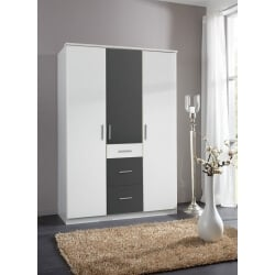 Armoire contemporaine 3 portes/3 tiroirs coloris blanc/anthracite Liziane