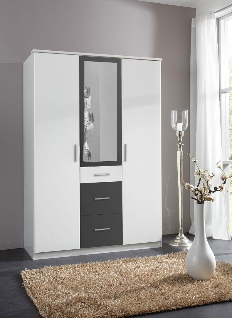 Armoire contemporaine 3 portes/3 tiroirs avec miroir coloris blanc/anthracite Liziane