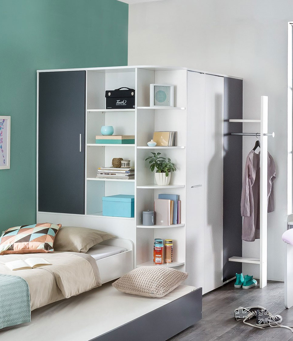 Armoire dressing contemporaine coloris blanc/anthracite Liziane