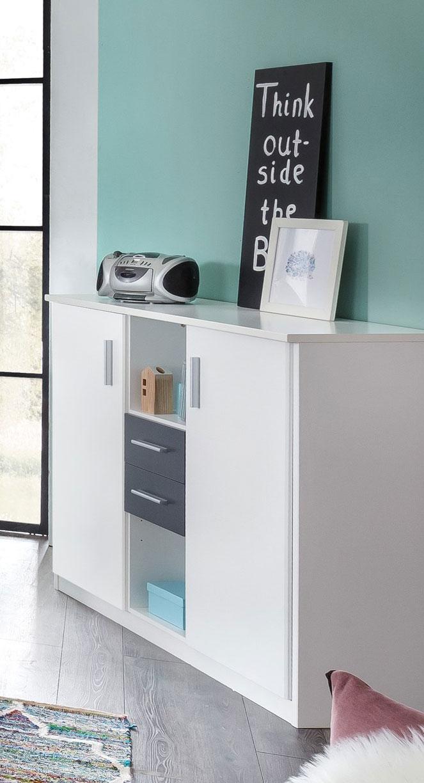 Meuble de rangement contemporain coloris blanc/anthracite Liziane
