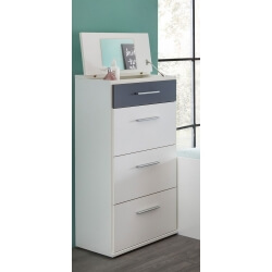 Chiffonnier contemporain coloris blanc/anthracite Liziane