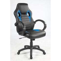 Fauteuil de bureau design en PU noir et tissu bleu Milor